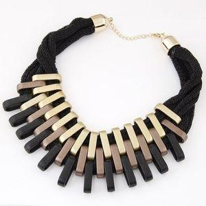 Tri-Tone Geometric Collar Necklace